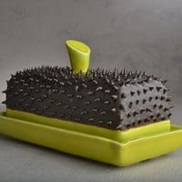 Butter Dish Made To Order Black and Chartruese Dangerously Spiky Butter Dish by Symmetrical Pottery Made To Order