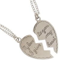 Silver Plate Pendant Necklace Best Friends Bff Set Sweetheart My Love Heart 2 Piece USA