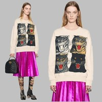 DCCKV3X GUCCI Four Panther Fashion Top Sweater Pullover