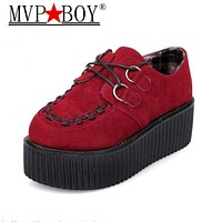 MVP BOY Spring Autumn Flat Shoes Vintage Women Creepers Platform Shoes Woman Flatform Black red Suede Creepers For Women