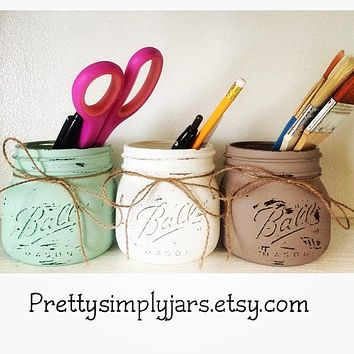 Set of 3 ELITE Wide Mouth Mason Jars - Bathroom Decor - Office Supplies  - Home Decor - Flower Vase