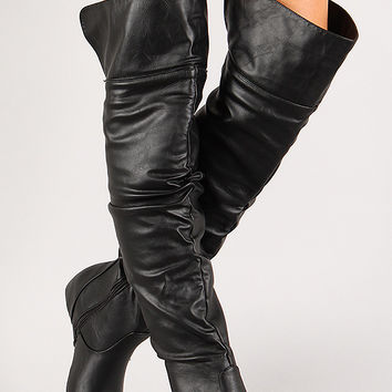 Leatherette Slouchy Hidden Wedge Thigh High Boot