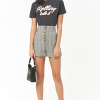 Glen Plaid Button-Fly Shorts