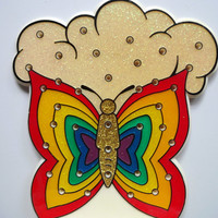 Vintage Rainbow Butterfly Earring Holder 1970s