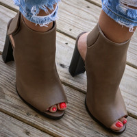 Rococo Taupe Open Toe Booties
