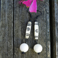 Cream and Black abstract dangle earrings