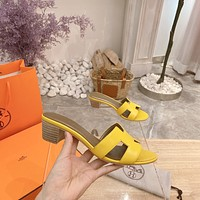 Hermes Women's 2021 NEW ARRIVALS Mid-heeled Slippers Sandals Shoes