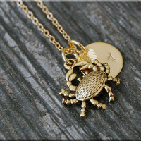 Gold Crab Charm Necklace, Initial Charm Necklace, Personalized, Zodiac Cancer Charm, Crab Pendant, Ocean Creature Jewelry, Beach charm