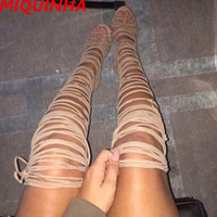 New Quality levluv Heels Thigh High Boots Lace Up Wild Thing Knee Gladiator Roman Women Sandals Boots Advent Leather Shoes Woman