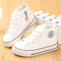 Kids shoes for girl children canvas shoes boys sneakers Spring autumn girls shoes White High Solid fashion Children shoes