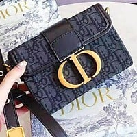DIOR CD Fashion New More Embroidery Letter Leather Shopping Leisure Shoulder Bag