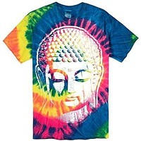 Mens Big Buddha Head Tie Dye Tee Shirt