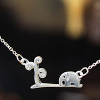 Little Elephant and tree Necklace Womens Animal Theme Jewelry gift idea