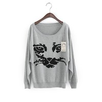 Casual Scoop Neck Lovely Cat Kniting Long Sleeve Christmas Sweater For Women