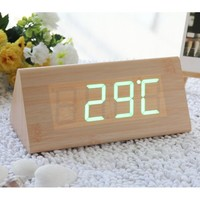 EiioX Fashion Triangle Green LED Wooden Imitation Alarm Clock Digital Wood Alarm Clock Desktop- Time Temperature Date - Sound Control - Latest Generation