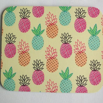 Pineapples Mouse Pad mousepad / Mat - Rectangle - yellow pineapples - cubicle decor office desk coworker gift