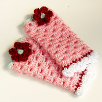 Infant Leg Warmers, White, Pink, Red and Mint Baby Legs, Flower Shabby Chic Children's Accessories, Photo Prop