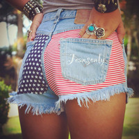 Levis High waisted American flag jeans shorts,high rise denim shorts,American flag denim shorts by Jeansonly