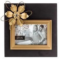 "6"" x 4"" Black & Gold Chalkboard Frame with Flower 