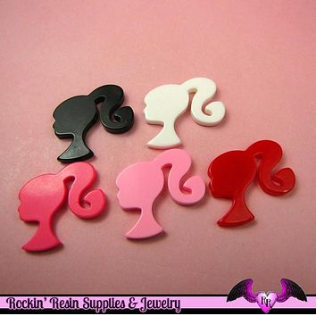 5 Pcs Ponytail Girly Head  Decoden Kawaii Flatback Resin Cabochons 28x29mm