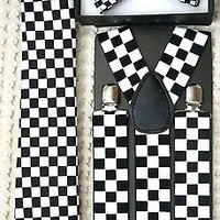 """Black&White Checkers Bow tie,Necktie,and Wide 1 1/2"""" B&W Checkered Suspenders-V3"""