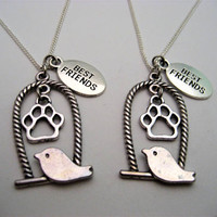 Tiny Bird Necklace Set Best Friends Pet Paw Necklace Set Bffs Necklace Set Bird Jewelry Set Bird Lovers Gift
