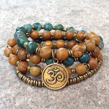 """""""Abundance and Protection"""" 54 Bead Mala Bracelet or Necklace, Jasper and Moss Agate"""