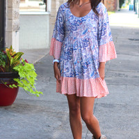 Paisley Ruffle Peasant Dress {Blue Mix}