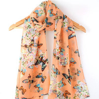 2016 new arrival high quality hot selling fashion butterfly printed chiffon scarf women long size 160*70cm winter scarf shawl