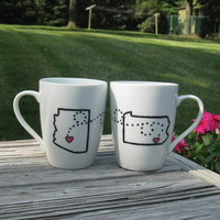 Across State Lines Relationship Mugs