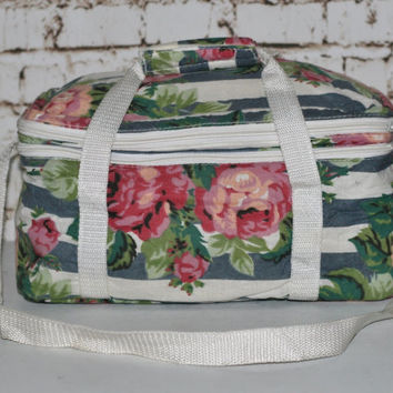 90s Large Canvas Shoulder Bag Cooler Lunch Insulated Floral Stripe Print Pink White Patel Goth Grunge Hipster Kawaii Festival Beach Hand Box