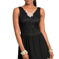 Tiered Skirt Lace Dress With Back String Accent