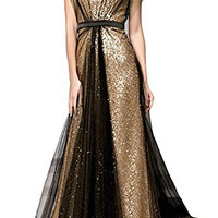 Elegant Gold Sequins Floor Length Bead Prom Evening Dresses