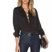 Ladies Office Shirts Solid Color Long Sleeve Front Lace Up Double pocket Women Tops Blouse Shirt blusas y camisas mujer OLYZ1663