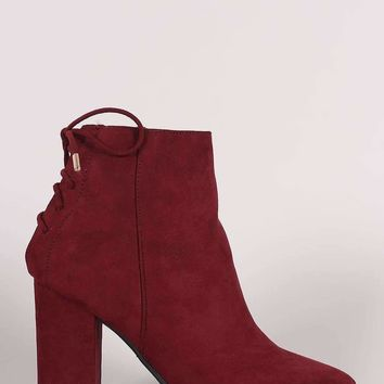 Bamboo Suede Back Lace Up Chunky Heeled Ankle Boots