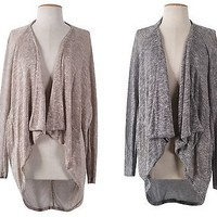 Women Asymmetric Hi-Low Hem Open Front Lightweight  Cardigan Sweater Jacket