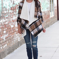 All Winter Long Fur Lined Plaid Print Cardigan {Camel Mix}