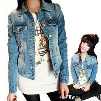 Long Sleeve Women Outerwear S-4XL Jacket Short Thin Denim Jacket Jeans = 1958554628
