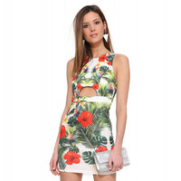 Floral Sleeveless Cut Out Bodycon Mini Dress