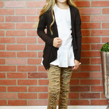 lil belle keep it basic flyaway cardigan - brown