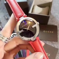 GUCCI Women Fashion Simple Leather Strap Wristwatch Watch