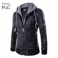 Plus Size 4XL Detachable Hooded Men Faux Leather Jacket Black Biker Motorcycle Mens PU Leather Coat Slim Jaqueta Couro Masculina