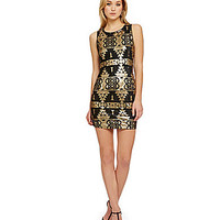 Skies Are Blue Sequined Tribal-Print Dress - Black/Gold
