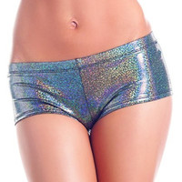 Silver Iridescent Metallic Shine Boy Booty Shorts