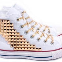 Studded Converse Gold Pyramid studs with converse White high top