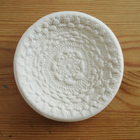 Handmade Wedding Ring Dish with a White Lace Design
