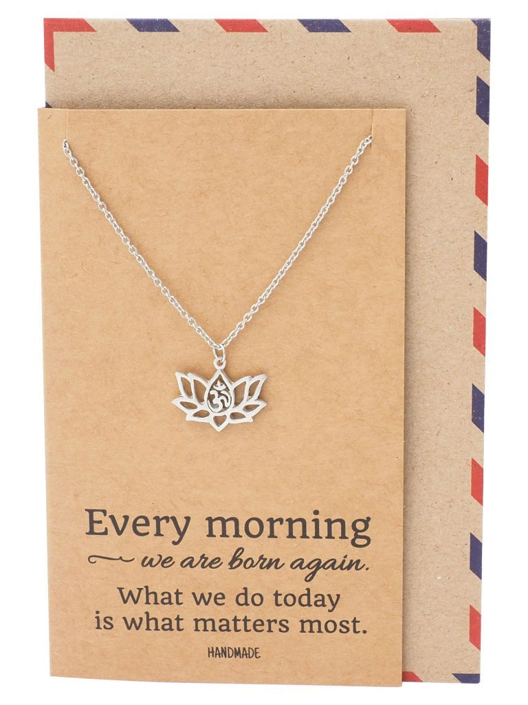 Image of Amara Yoga Jewelry, Lotus Flower Necklace, Om Necklaces for Women