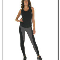 Gray and Black Paneled Running Sports Leggings for Women