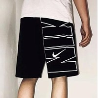 NIKE New fashion embroidery hook and letter print shorts Black