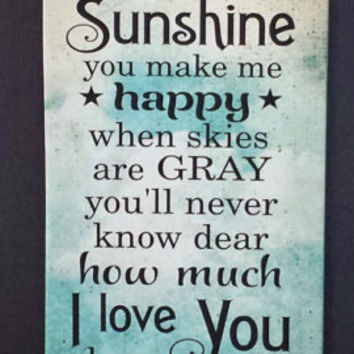 You Are My Sunshine Wood Sign, Canvas Wall Art, Canvas Banner - Christmas Gift, New Baby, Nursery Decor, Mother's Day, Shower Gift